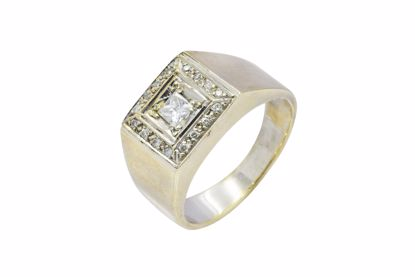 ANILLO TIPO SELLO 14K ORO 6.6 GRS., CON DIAMANTE.